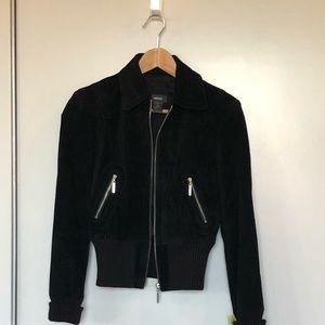 Black Suede Zip Up Jacket